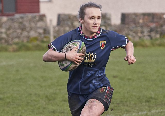 Georgia Amor scored two try's on a thunderous day for SYRFC Ladies.