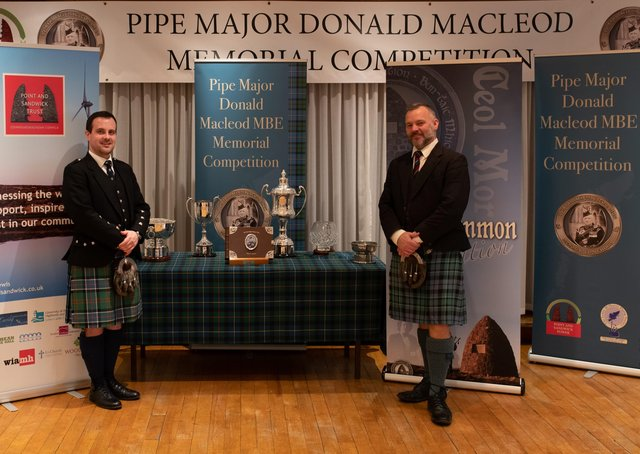 Finlay Johnston (left), overall winner of the 2019 P/M Donald Macleod MBE Memorial Piping Competition, with second overall, Stuart Liddell. (Picture by Derek MacKinnon)