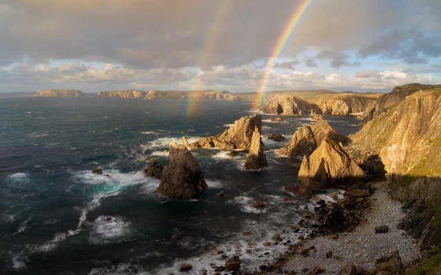 The Mangersta Sea Stacks on the Isle of Lewis is one of Richard Fox's shortlisted photographs. (Photograph: Pinnacles of Light © Richard Fox)