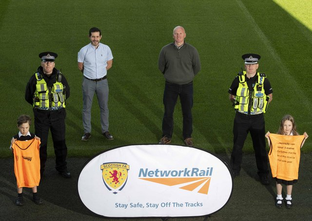 Training sessions...not only to learn silky skills but key rail safety messages. Pictured at the launch event at Easter Road are (l-r) Alfie Hocknull, Stuart Livingstone, Paul McNeil, Mark Henderson, Bryan O'Neill and Zoe Hocknull (Pic: Paul Devlin)