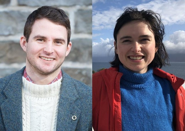 New postgraduate researchers Liam Crouse and Isabelle Flower.