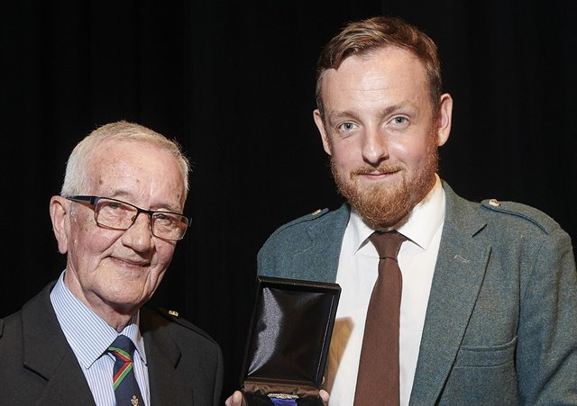 PM Morrison pictured with James MacKenzie at the Northern Meeting in 2019.