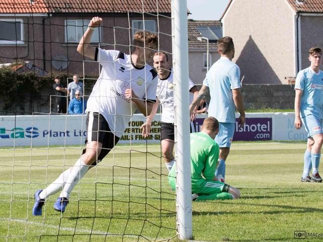 Eachainn Miller celebrates scoring a goal