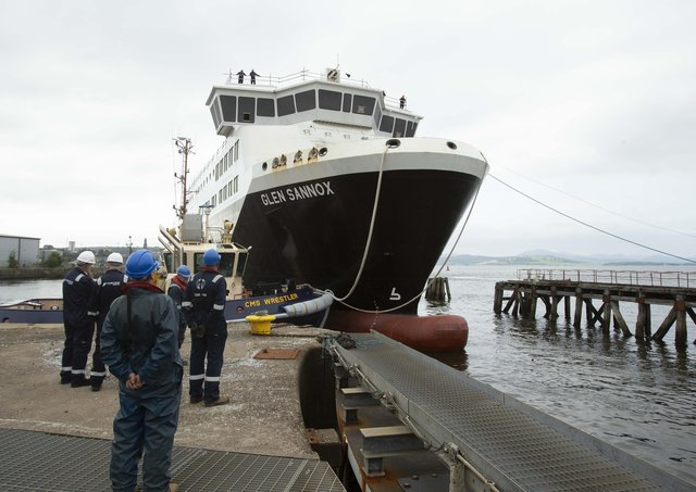 MV Glen Sannox in dry dock