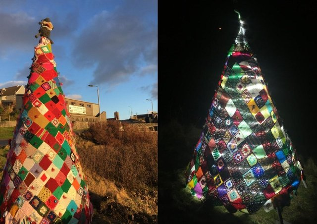 Hundreds of squares were required to create the Christmas trees.
