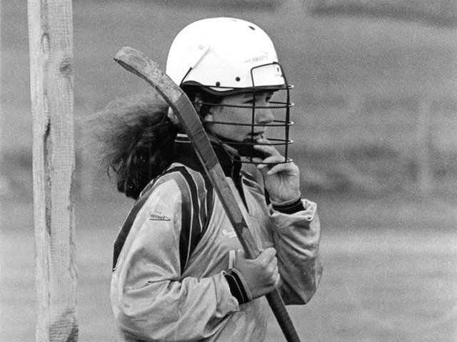 A female Lewis shinty player pictured in the 1990s