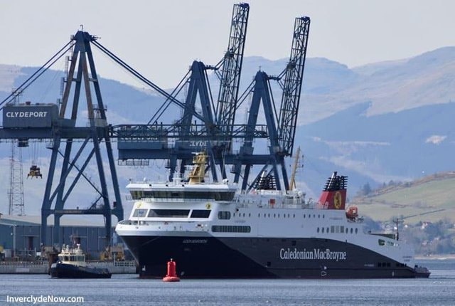 The Loch Seaforth sailing down the Clyde for repairs... leaving behind major headaches on the Stornoway-Ullapool run