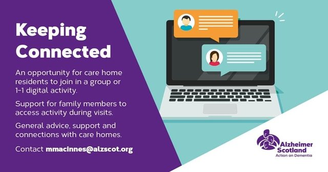 Keeping Connected by Alzheimer  Scotland offers care homes vital support