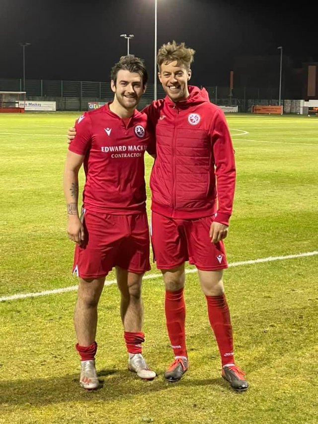 Stornoway's Martin Maclean, right, was one of Brora Rangers' two goal-scorers against Hearts on Tuesday night