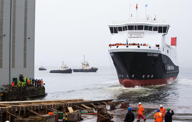 Innovative dual fuel vessel, MV Glen Sannox launches on the Clyde, but is now in dry dock for repairs.