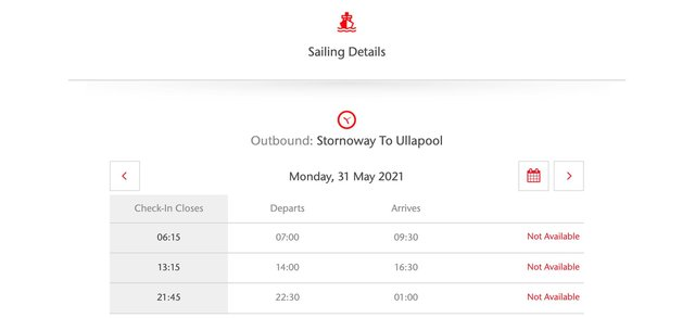 A quick look at CalMac's website shows just how limited availability is