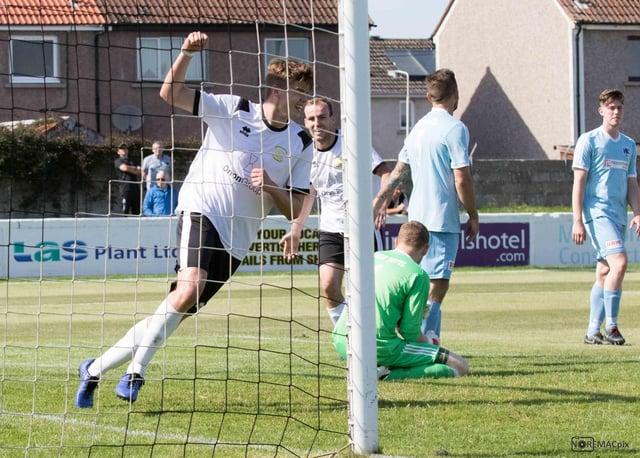 Eachainn Miller celebrates scoring