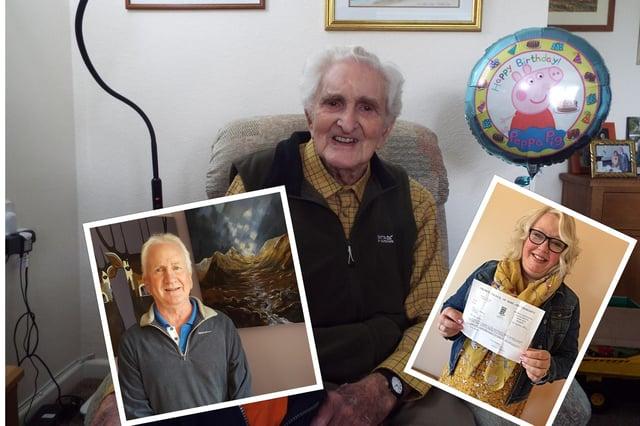 Murray Haddow, 95, arranged Angela's adoption. Insets: L- Graham Haddow and R - Angela Morrison