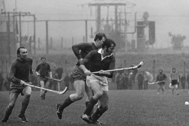 John MacFarlane in shinty action in 1973 Camanachd Cup final (Pic courtesy of Donald MacKay shinty archive)