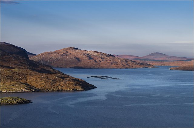 Salmon farms dot the seas and bays around the Western Isles.