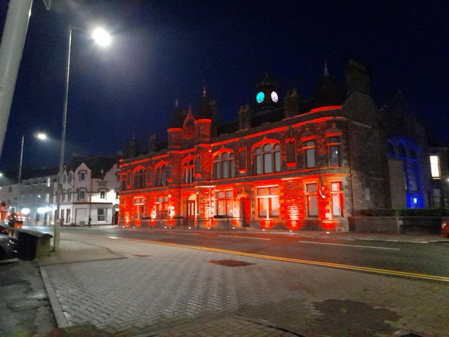 Stornoway Town Hall lights up red for Valentine's Day.