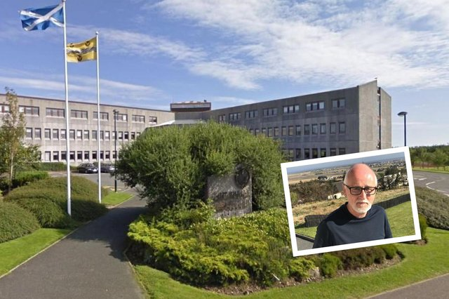 Western Isles Council HQ and inset, Council Leader Roddie MacKay.